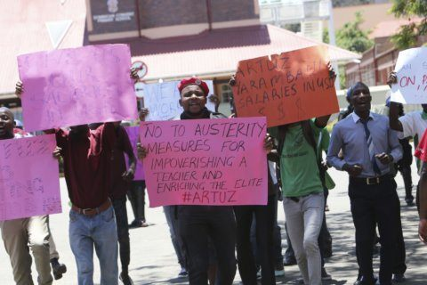 Zimbabwe police stop protest march by civil servants