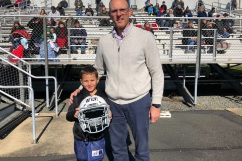Loudoun Youth Football players try newly-designed safety helmets