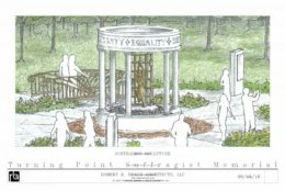 Renderings for the Turning Point Suffragist Memorial show the details of the design.