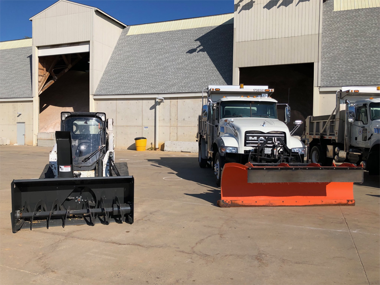 snow plows at the ready