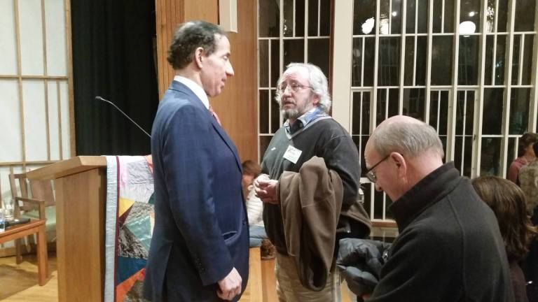 U.S. Rep. Jamie Raskin speaks with constituents