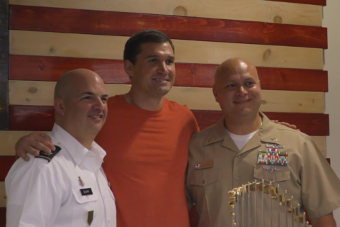 Nats' World Series trophy, Lerner, Zimmerman visit Walter Reed