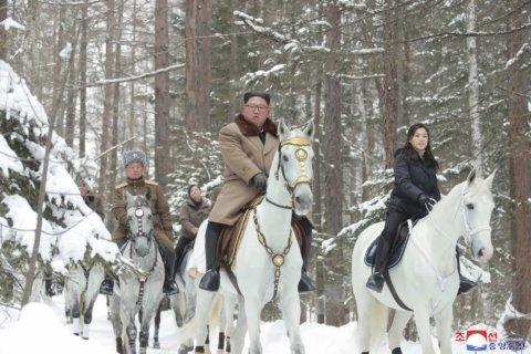 Kim again rides horse up sacred peak as N. Korea raps Trump