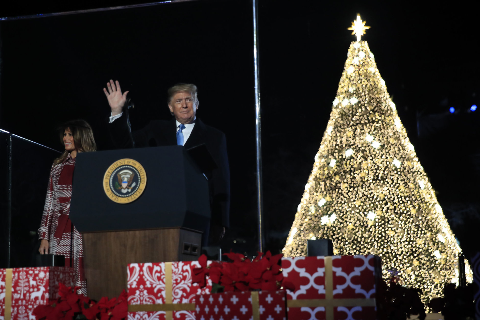 Donald Trump Christmas Tree Lighting Ceremony 2020 Trump lights National Christmas Tree in holiday tradition | WTOP