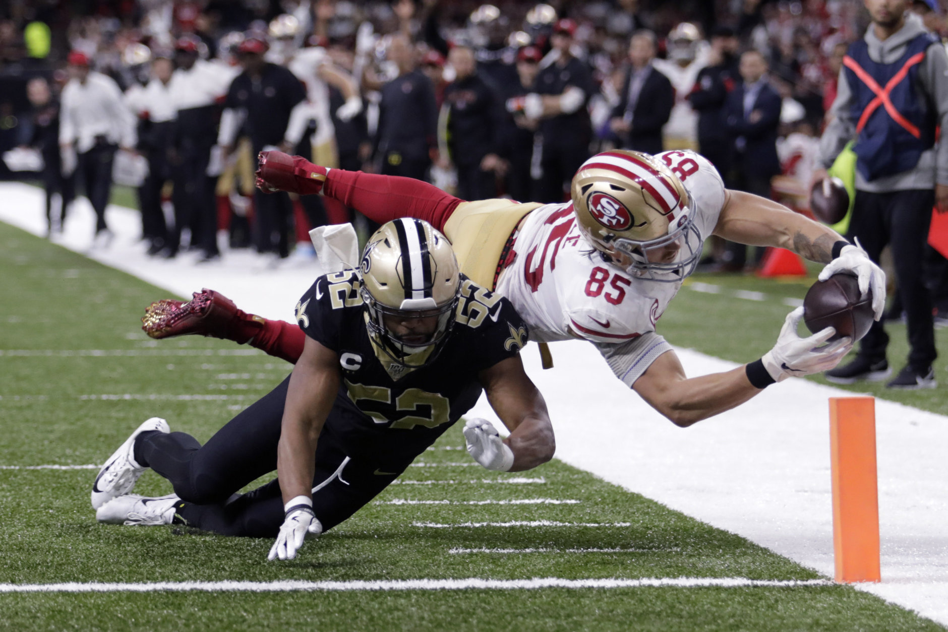"""<p><b><i>49ers 48</i></b><br /> <b><i>Saints 46</i></b></p> <p>For the second time, <a href=""""https://profootballtalk.nbcsports.com/2019/12/08/49ers-hope-another-full-week-on-the-road-pays-off/"""" target=""""_blank"""" rel=""""noopener"""">San Francisco&#8217;s extended road trip</a> helped them get a key win and give them the likely homefield advantage if we&#8217;re lucky enough to see a playoff rematch between these two teams. Please, great football gods, let us have a rematch between these two teams.</p>"""