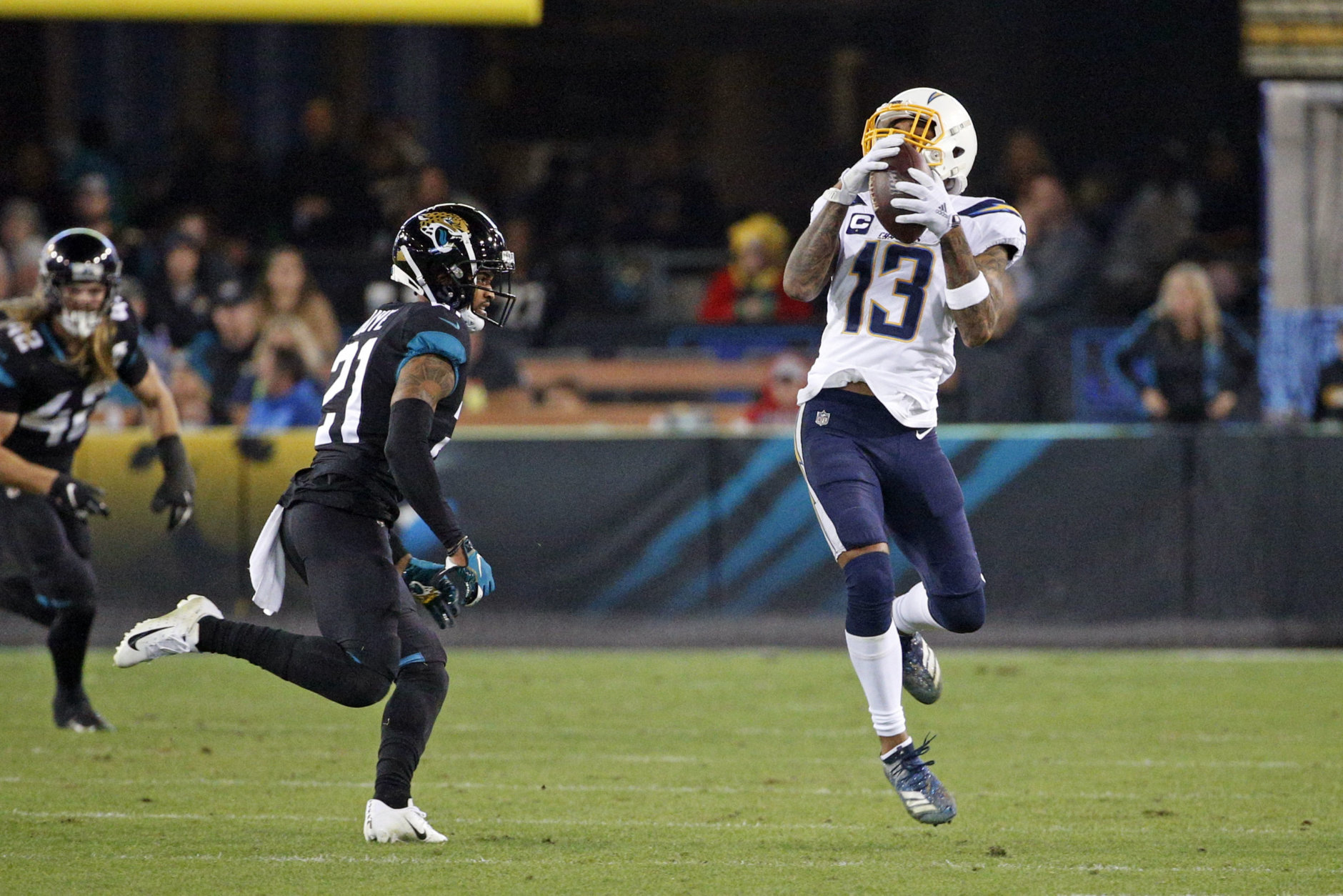"""<p><b><i>Chargers 45</i></b><br /> <b><i>Jaguars 10</i></b></p> <p>So how do you shake free of an <a href=""""https://profootballtalk.nbcsports.com/2019/12/02/chargers-getting-frustrated-as-they-find-every-way-you-can-possibly-lose/"""" target=""""_blank"""" rel=""""noopener"""">epic run of late-game failures in close defeats</a>? Blow out a listless Jacksonville team <a href=""""https://profootballtalk.nbcsports.com/2019/12/02/two-expensive-misses-one-cheap-hit-for-jaguars-at-quarterback/"""" target=""""_blank"""" rel=""""noopener"""">incapable of making a good choice at QB</a>, of course!</p>"""