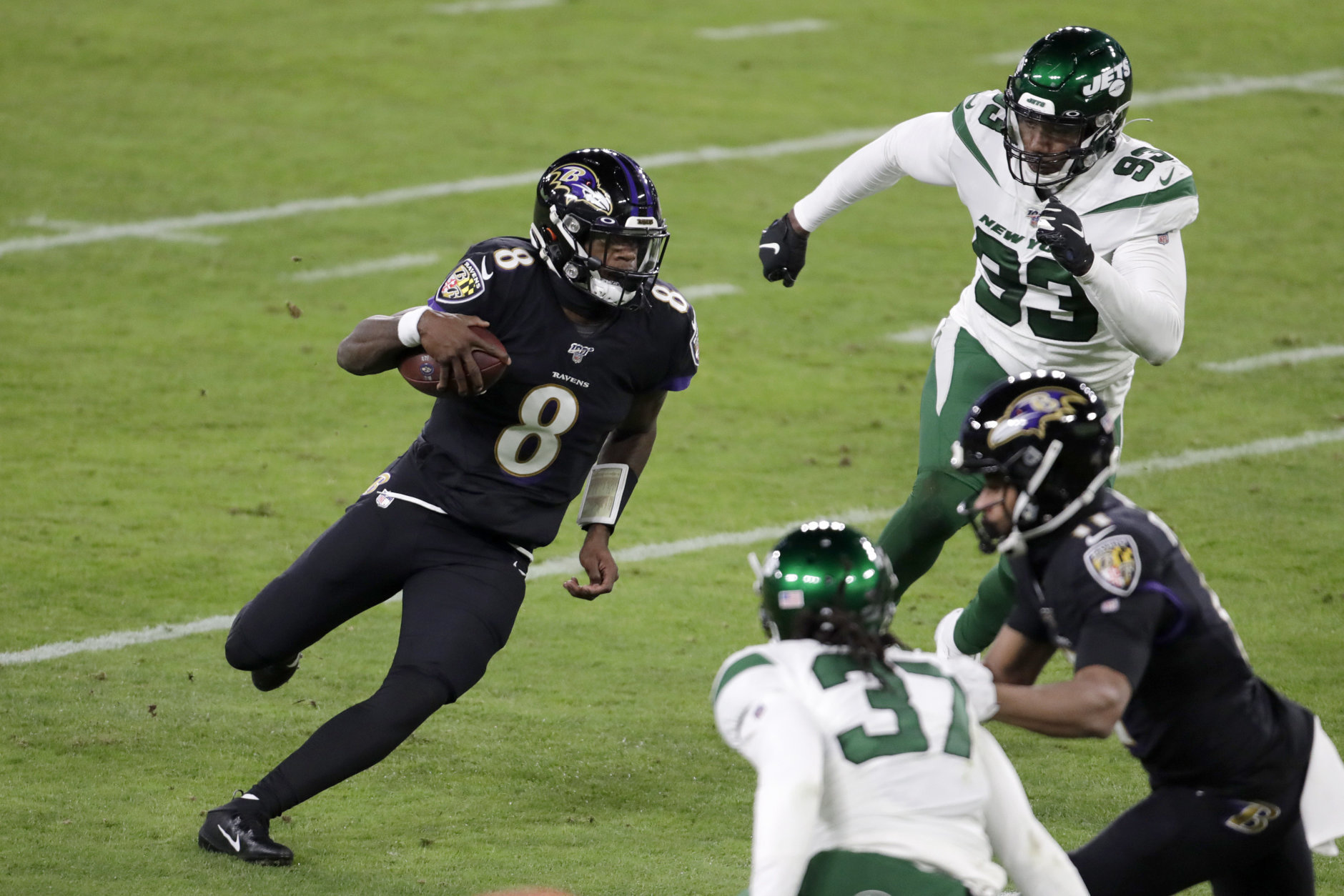 "<p><b><i>Jets 21</i></b><br /> <b><i>Ravens 42</i></b></p> <p>In the last Thursday night game of the season, Lamar Jackson made what figures to be his closing statement for MVP by leading Baltimore to back-to-back AFC North titles with his third 5-TD performance of the season, and oh by the way, set the new single-season rushing record by a QB. No matter what <a href=""https://twitter.com/TomBrady/status/1205308052880134144"" target=""_blank"" rel=""noopener"" data-saferedirecturl=""https://www.google.com/url?q=https://twitter.com/TomBrady/status/1205308052880134144&amp;source=gmail&amp;ust=1576354544581000&amp;usg=AFQjCNEgKmzvL4DLpwCeV6iGqCPsVQzxVw"">Tom Brady tweets</a>, he can&#8217;t catch Jackson and the Ravens — literally or figuratively.</p>"
