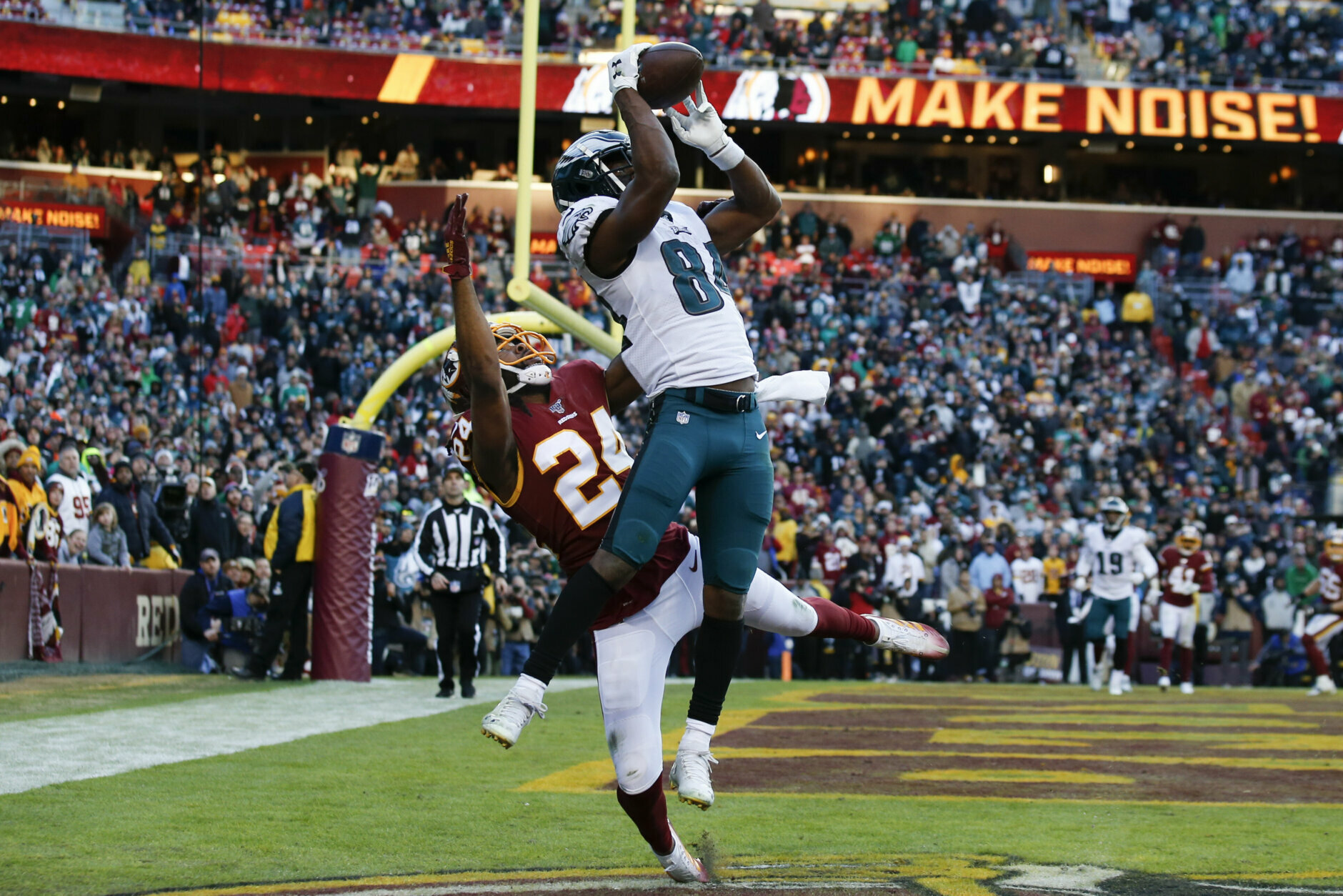 "<p><b><i>Eagles 37</i></b><br /> <b><i>Redskins 27</i></b></p> <p>Boy, where do I start? Adrian Peterson <a href=""https://twitter.com/ESPNStatsInfo/status/1206316694660165632?s=20"" target=""_blank"" rel=""noopener"">solidifying his case for the Hall of Fame</a>. Dwayne Haskins and Terry McLaurin having breakout games with Urban Meyer in the owner&#8217;s box. The <a href=""https://www.si.com/gambling/2019/12/15/eagles-redskins-last-second-td-bad-beats-nfl-season"" target=""_blank"" rel=""noopener"">bad beat</a> to end all bad beats. But while people laud the Redskins for playing the Eagles close in a game that meant everything to Philly and nothing to Old D.C., I&#8217;m calling out Josh Norman — the league&#8217;s highest-paid corner finally on the field after weeks on the bench — for getting torched for the game-winning touchdown by a guy cut six times and then <a href=""https://www.espn.com/nfl/story/_/id/28308702/got-play-cards-dealt"" target=""_blank"" rel=""noopener"">talking nonsense in the aftermath</a>. If I&#8217;m Meyer, I&#8217;m not touching this gig and if I&#8217;m the NFL, <a href=""https://www.usatoday.com/story/sports/columnist/dan-wolken/2019/12/15/urban-meyer-not-fit-nfl-coaching-job-skills-do-not-translate/2657883001/"" target=""_blank"" rel=""noopener"">I&#8217;m not touching Meyer</a>.</p>"