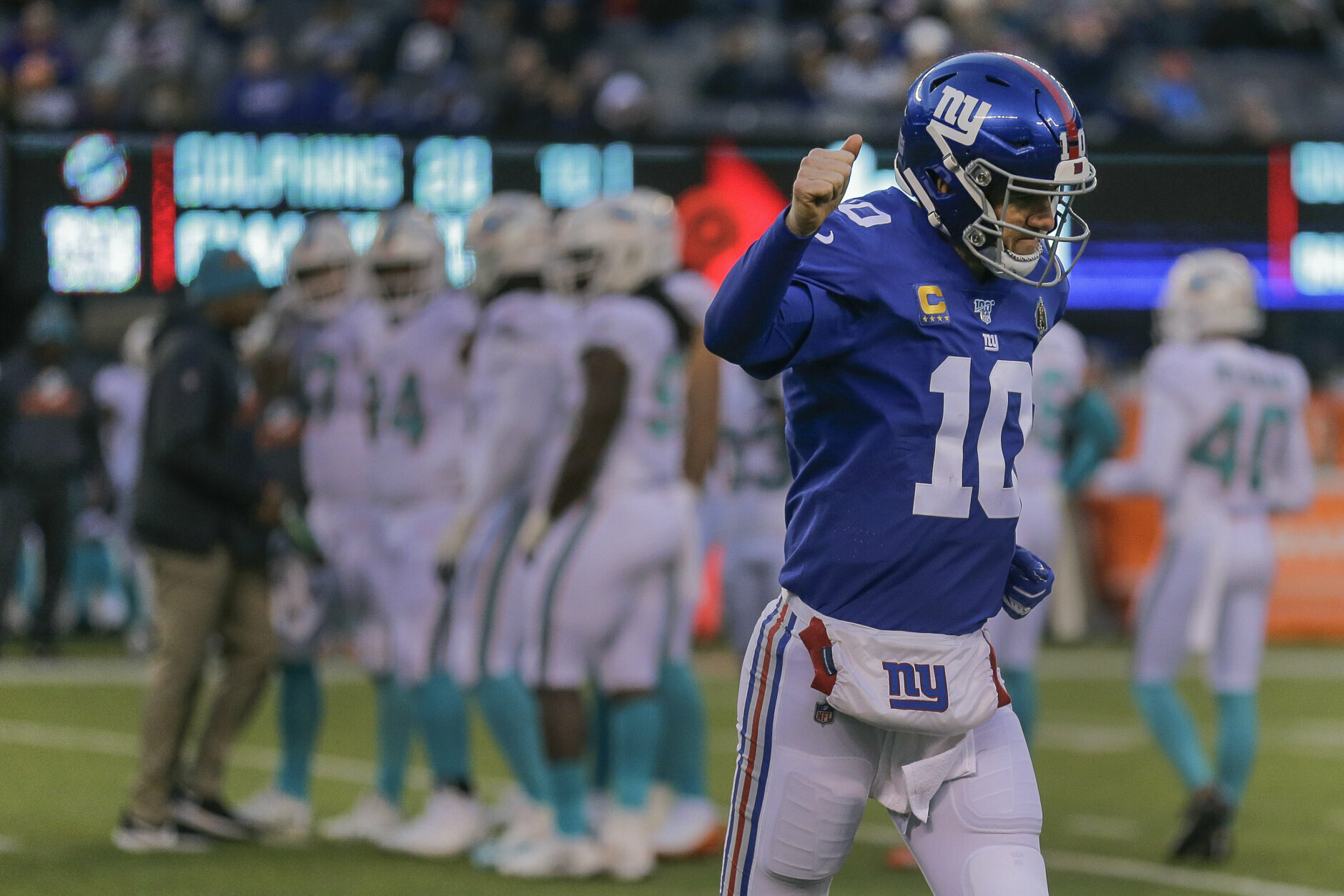 "<p><b><i>Dolphins 20</i></b><br /> <b><i>Giants 36</i></b></p> <p>His three picks aside, Eli&#8217;s farewell was <a href=""https://www.espn.com/nfl/story/_/id/28306976/eli-manning-gets-special-win-giants-likely-final-home-start"" target=""_blank"" rel=""noopener"">a helluva send-off</a> for a guy with a career .500 record and was really the catalyst for only one of the two Super Bowl runs he was a part of. Yeah, I said it.</p>"