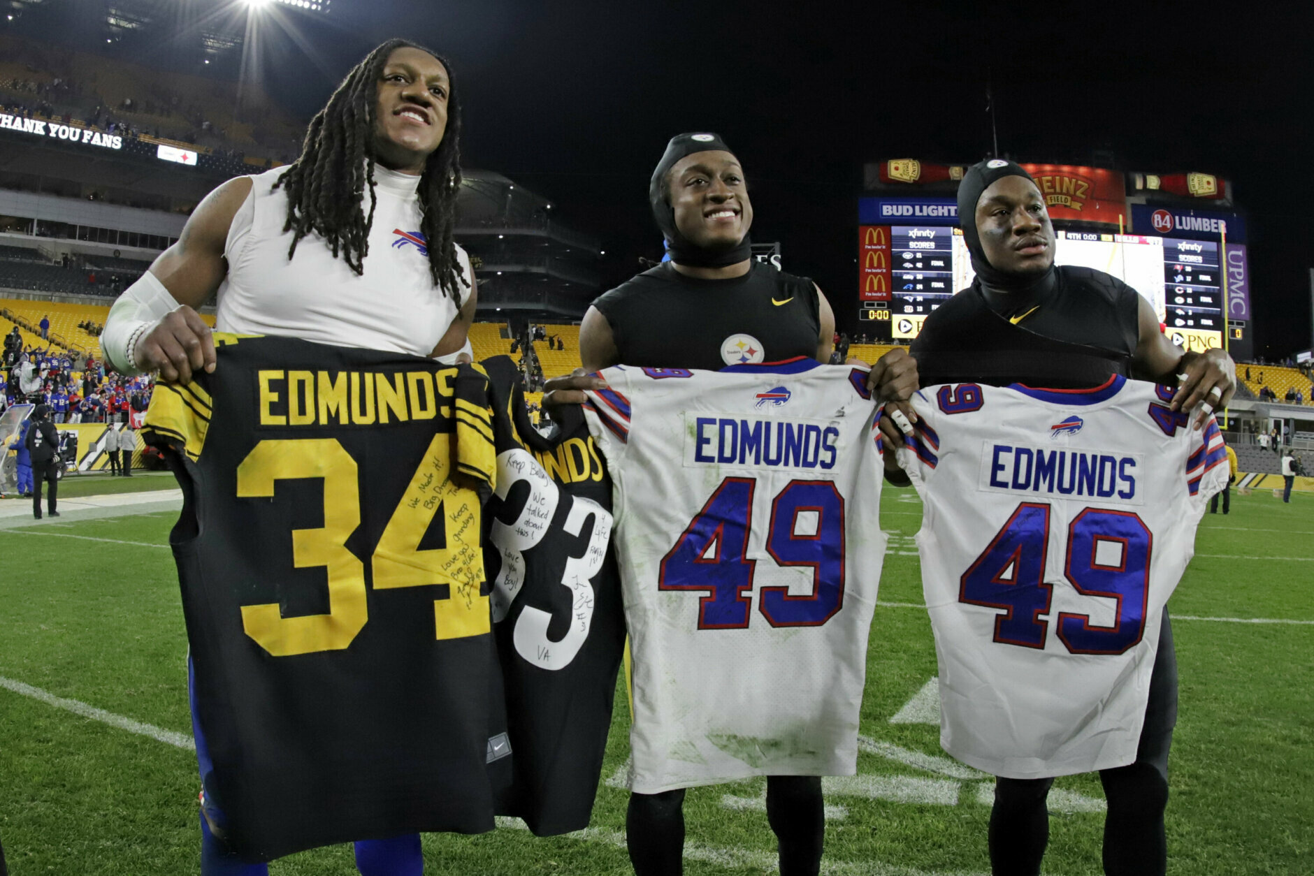"<p><b><i>Bills 17</i></b><br /> <b><i>Steelers 10</i></b></p> <p>Buffalo, in just their second appearance on Sunday Night Football and first since 2007, clinched its second playoff berth in three years and first 10-win season in 20 years. But that wasn&#8217;t the biggest drought that ended in Pittsburgh: <a href=""https://profootballtalk.nbcsports.com/2019/12/11/edmunds-brothers-will-be-first-brother-trio-to-play-in-same-nfl-game-since-1927/"" target=""_blank"" rel=""noopener"">The Edmunds brothers&#8217; family reunion</a> was the first of its kind in 92 years and one of <a href=""https://www.wgrz.com/article/sports/edmunds-brothers-make-nfl-history-as-they-face-each-other-on-sunday-night-football/"" target=""_blank"" rel=""noopener"">the greatest stories</a> of the weekend.</p>"