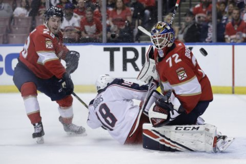 Brown, Bobrovsky lead Panthers over Blue Jackets, 4-1