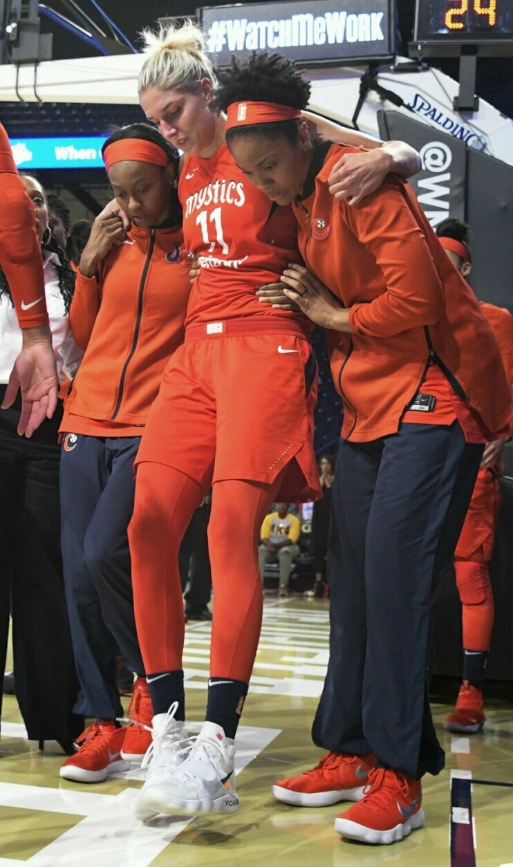 """<p><strong>4. Elena Delle Donne's knee injury, 2018 WNBA Semifinals</strong></p> <p>The Washington Mystics looked to finally have all the pieces in place to win a title in 2018 until suddenly, it all flashed before their eyes. After a monster 27-point, 14-rebound Game 1, driving the lane in the Eastern Conference Finals against Atlanta, Elena Delle Donne's left leg planted and skidded, her knee bending the wrong way. A season full of promise that looked like it might actually deliver the franchise's first title was dashed. But the resiliency the Mystics showed, fighting through injuries just to make the WNBA Finals, became the foundation for their rallying cry, to """"run it back"""" the following year. There were plenty of bumps and bruises in 2019 as well, but nothing that could stop Washington's title run, Delle Donne celebrating under the mask, and the confetti, on her new home floor.</p>"""