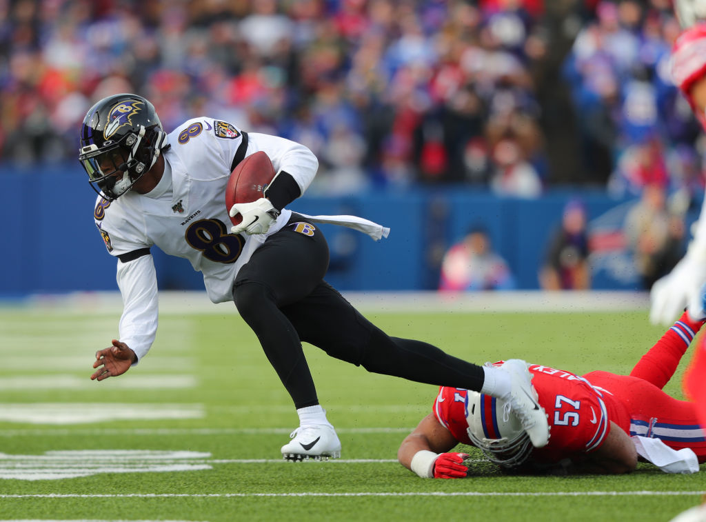"""<p><b><i>Ravens 24</i></b><br /> <b><i>Bills 17</i></b></p> <p>In <a href=""""https://twitter.com/fieldyates/status/1201895115524132864?s=21"""" target=""""_blank"""" rel=""""noopener"""">a rare matchup of mobile quarterbacks</a>, Lamar Jackson fell short of Mike Vick&#8217;s single-season rushing record but joined him as the only QBs to rush for 1,000 yards in a season. If this dude&#8217;s &#8220;off day&#8221; still includes <a href=""""https://twitter.com/NFL/status/1203741378875801600?s=20"""" target=""""_blank"""" rel=""""noopener"""">shattering another pair of ankles</a> and throwing 3 TDs even when <a href=""""https://www.espn.com/nfl/story/_/id/28253245/bills-player-gets-look-ravens-coach-notes"""" target=""""_blank"""" rel=""""noopener"""">the opposition gets a gift cheat sheet</a>, the <a href=""""https://www.cbssports.com/nfl/news/baltimore-ravens-gift-pope-francis-signed-custom-no-8-jersey-in-archbishops-visit-to-rome/"""" target=""""_blank"""" rel=""""noopener"""">heavens are proclaiming</a> Baltimore is a team of destiny.</p>"""