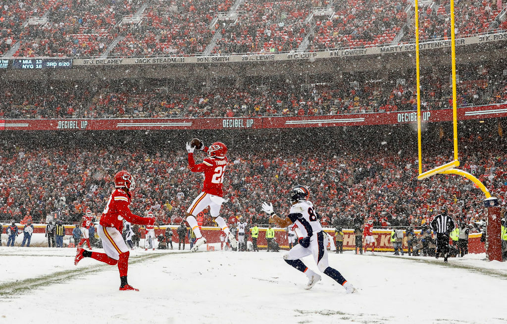 "<p><b><i>Broncos 3</i></b><br /> <b><i>Chiefs 23</i></b></p> <p>Drew Lock's homecoming had him seeing red … red jerseys pummeling him in Kansas City&#8217;s best defensive performance of the season to sweep Denver by a combined score of 53-9 and keep the Chiefs in position to grab the 2-seed in the AFC. Considering how much <a href=""https://profootballtalk.nbcsports.com/2019/12/15/patrick-mahomes-is-2-0-in-the-snow-and-hes-hoping-for-more/"" target=""_blank"" rel=""noopener"">Patrick Mahomes likes to play in the snow</a>, that&#8217;ll mean something.</p>"