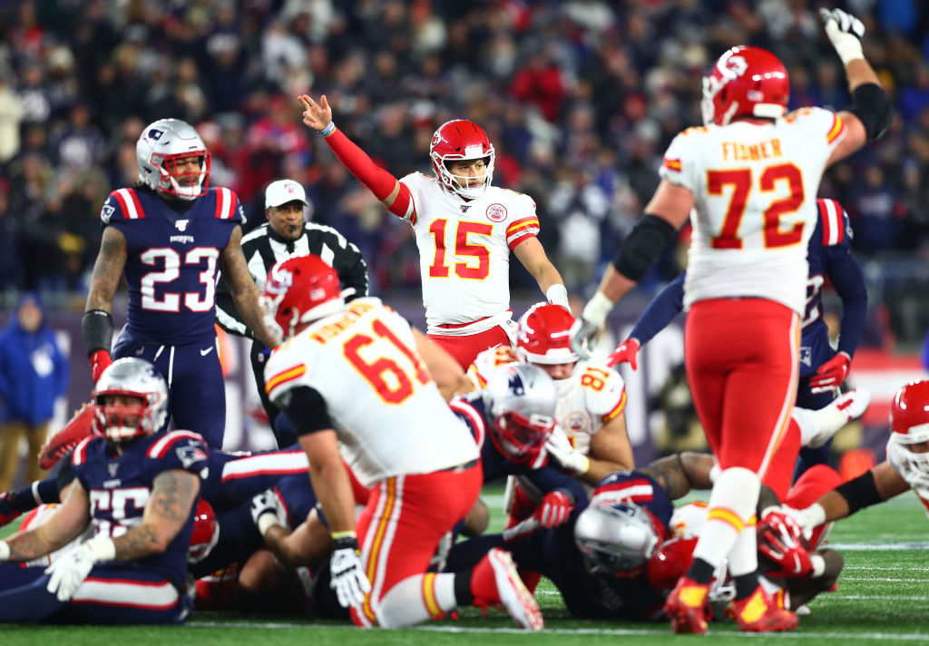 """<p><b><i>Chiefs 23</i></b><br /> <b><i>Patriots 16</i></b></p> <p>New England hadn&#8217;t trailed at home since Week 6 <i>of last season</i>, won 21 straight home games and the legendary Brady-Belichick tandem had never lost at home to an opposing QB under the age of 25. Patrick Mahomes wrecked all that and Kansas City not only wins its division, but still has a shot at leapfrogging the Patriots for a first round bye. Not bad for a team that <a href=""""https://www.espn.com/nfl/story/_/id/28252143/chiefs-gear-mistakenly-sent-new-jersey-sources-say"""" target=""""_blank"""" rel=""""noopener"""">almost had to forfeit over lost luggage</a>.</p>"""
