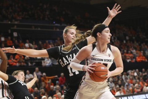 Brown scores 15, No. 5 Oregon State routs Hawaii 64-32
