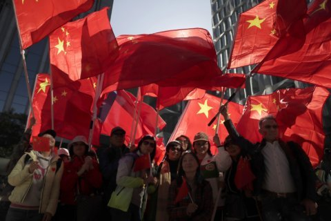 Pro-government protesters denounce Hong Kong 'rioters'