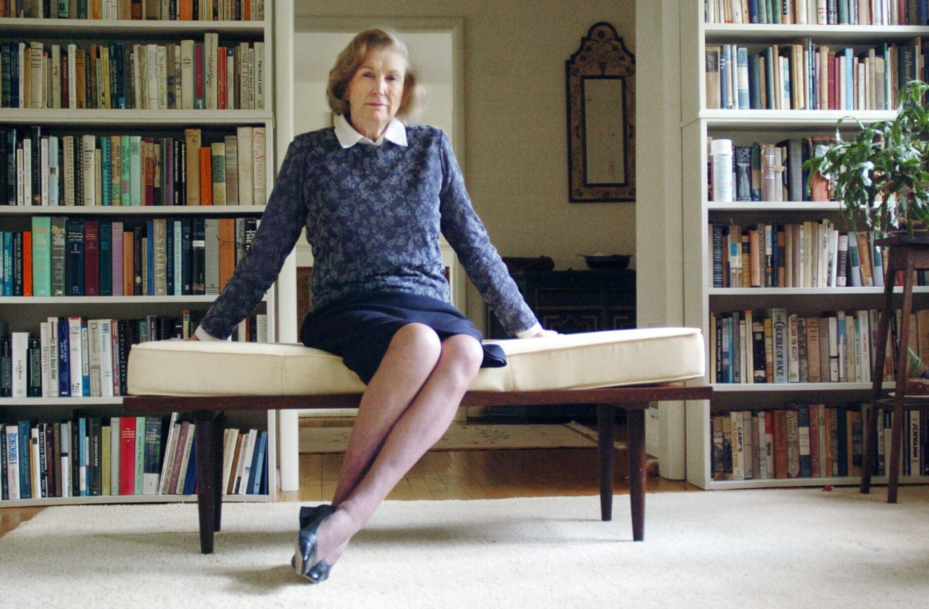Author Elizabeth Spencer is pictured in Chapel Hill, North Carolina, in front of a personal library in 2005. Spencer died on Dec. 22, 2019 in Chapel Hill, North Carolina, at age 98, according to the playwright Craig Lucas. (News Observer via AP, File)