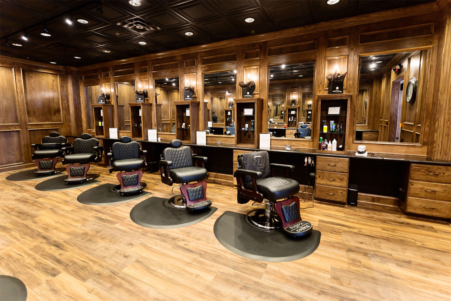 Boardroom Salon for Men will bring its wood-paneled men's barber shop and spas to to Fairfax, Virginia, and Rockville, Maryland, this spring.