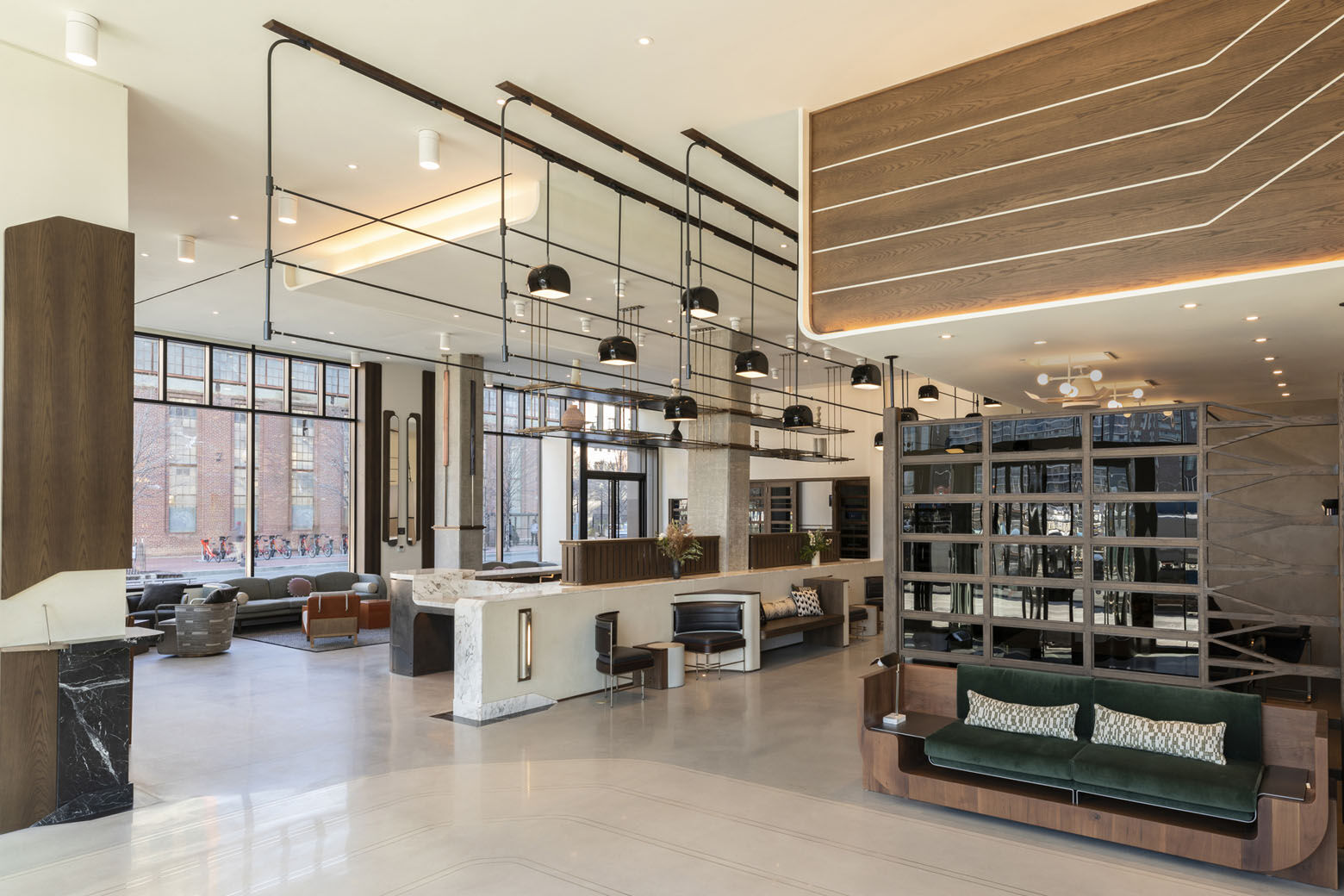 Thompson Washington D.C. occupies a newly built 11-story building, and its rooms features floor-to-ceiling windows and views of the Anacostia River and Nationals Park.