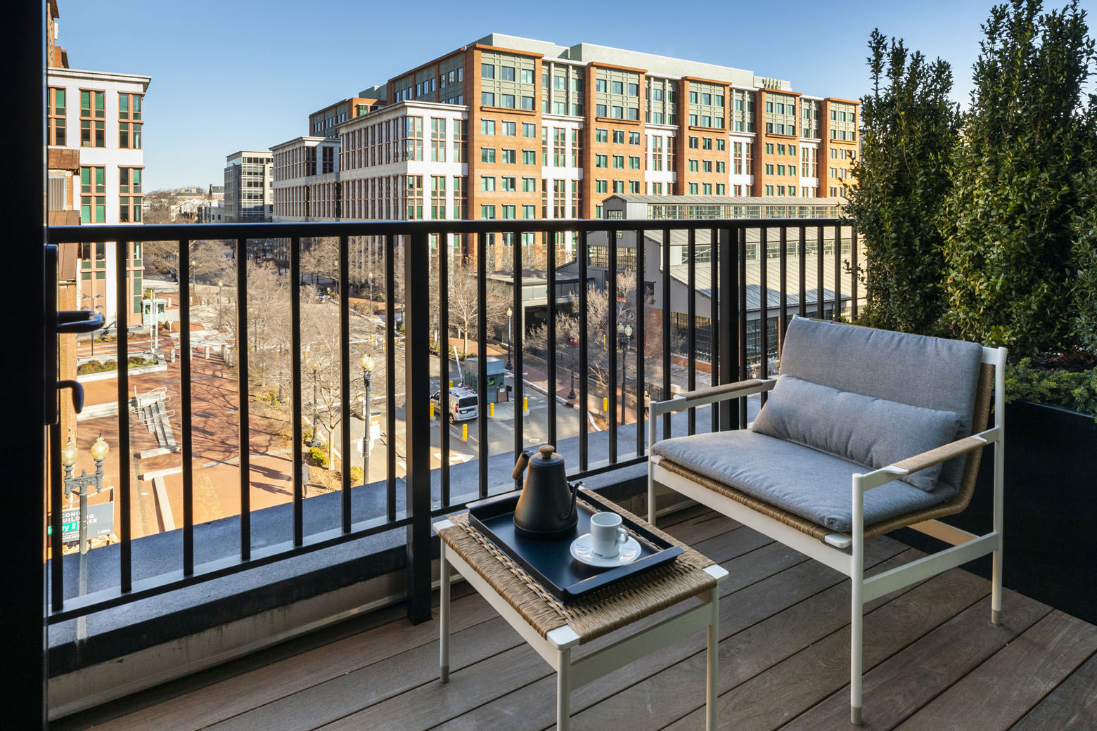 The hotel, called Thompson Washington D.C., occupies a newly built 11-story building at 221 Tingey Street, S.E. Some of the rooms have balconies.