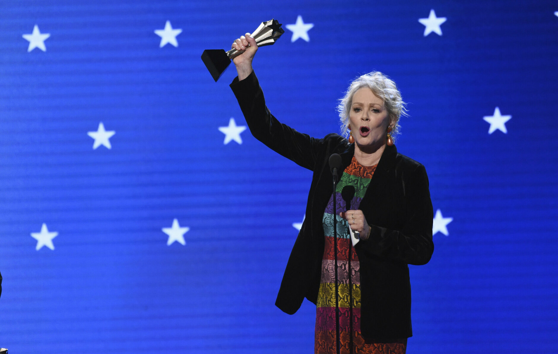 "Jean Smart accepts the award for best supporting actress in a drama series for ""Watchmen"" at the 25th annual Critics' Choice Awards on Sunday, Jan. 12, 2020, at the Barker Hangar in Santa Monica, Calif. (AP Photo/Chris Pizzello)"