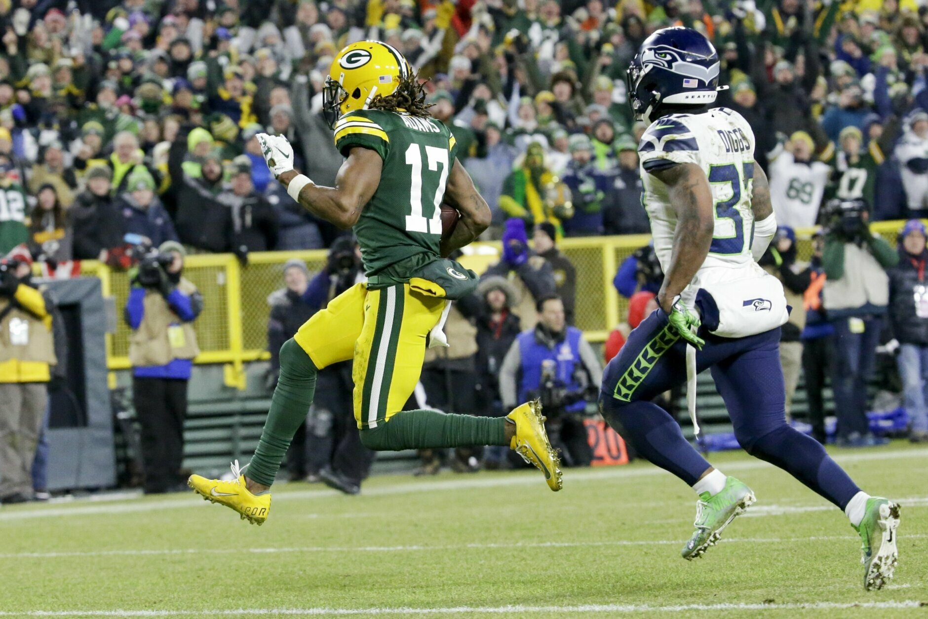 """<p><b><i>Seahawks 23</i></b><br /> <b><i>Packers 28</i></b></p> <p>Aaron Rodgers may be the face of the Green Bay Packers, but Devante Adams looks like the key to their title hopes after scoring both of Rodgers&#8217; touchdowns and setting a postseason franchise-record with 160 receiving yards. If he can generate even half that against the top-ranked 49ers pass defense next week, the NFC title game will be a good one.</p> <p>Meanwhile, Russell Wilson&#8217;s languishing at Lambeau continued, dropping to 0-4 on football&#8217;s holy ground despite staging a late rally to pull Seattle within striking distance of yet another of <a href=""""https://twitter.com/ESPNStatsInfo/status/1216549821911310336?s=20"""" target=""""_blank"""" rel=""""noopener"""">their patented one-score victories</a>. If the Seahawks are going to keep pace in the increasingly-competitive NFC West, they&#8217;ll need to prioritize getting him some more help this offseason.</p>"""