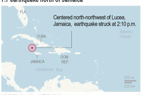 Mag 7.7 quake hits between Cuba and Jamaica, but no injuries