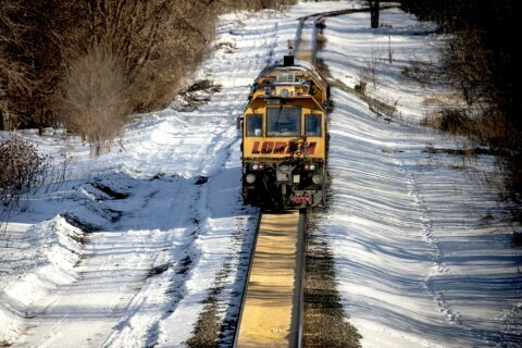 Corn spill forms smooth path on Minnesota railroad tracks
