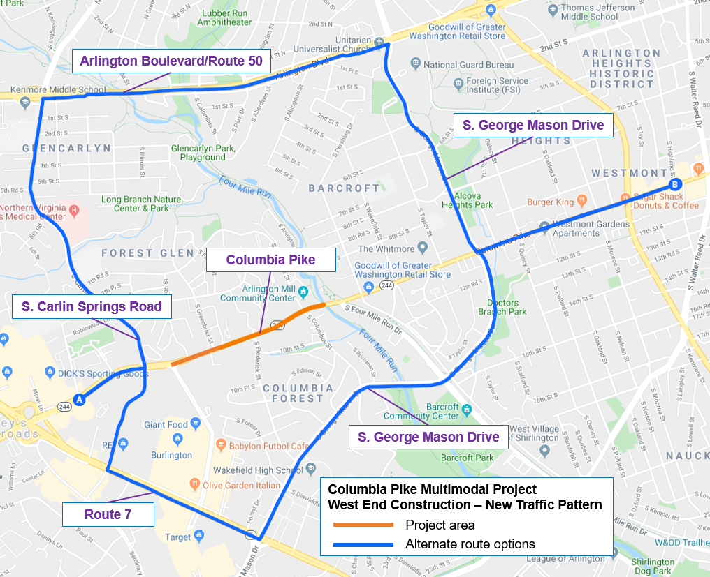 columbia pike alternate routes
