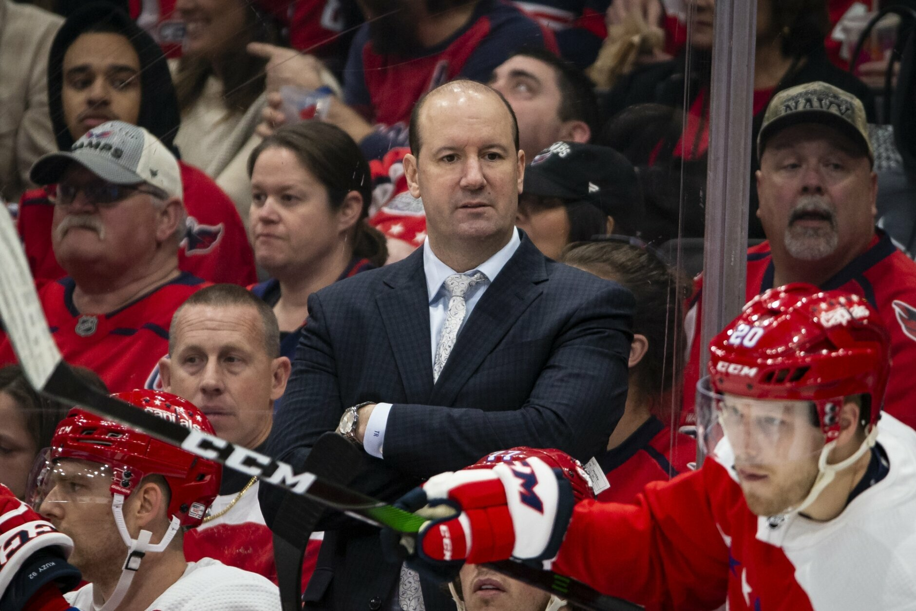Washington Capitals head coach Todd Reirden watches during the second period of an NHL hockey game against the New Jersey Devils, Thursday, Jan. 16, 2020, in Washington. (AP Photo/Al Drago)