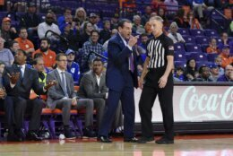 Duke head coach Mike Kryzewski speaks to an official during the first half of an NCAA college basketball game against Clemson Tuesday, Jan. 14, 2020, in Clemson, S.C. (AP Photo/Richard Shiro)