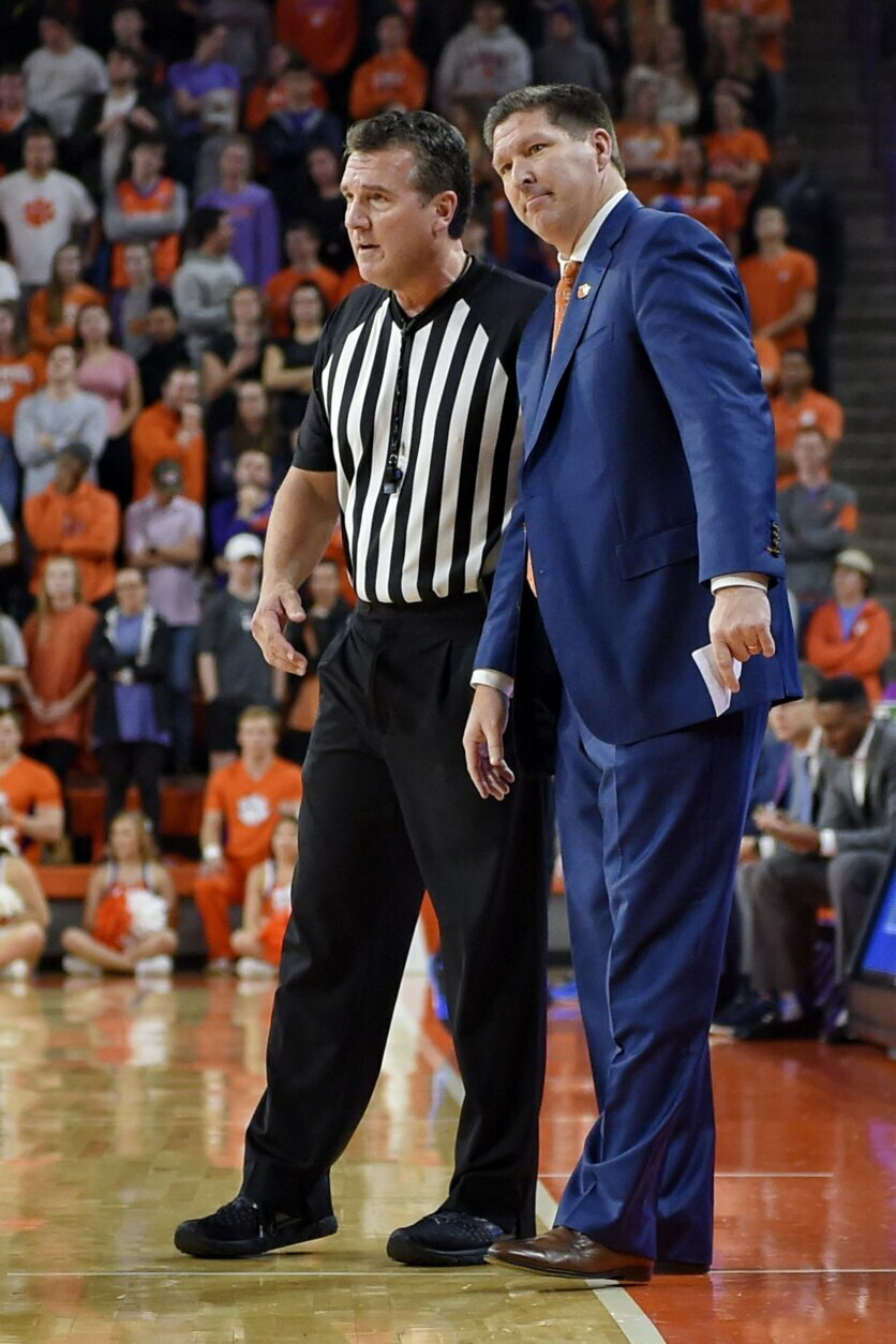 Clemson head coach Brad Brownell speaks to an official during the first half of an NCAA college basketball game against Duke Tuesday, Jan. 14, 2020, in Clemson, S.C. (AP Photo/Richard Shiro)