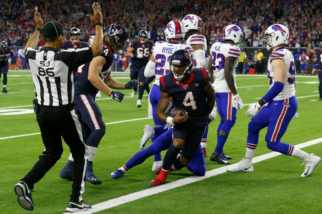 """<p><b><i>Bills 19</i></b><br /> <b><i>Texans 22 (OT)</i></b></p> <p>Deshaun Watson is just that dude. He&#8217;s <a href=""""https://twitter.com/ESPNStatsInfo/status/1213630506480390145?s=20"""" target=""""_blank"""" rel=""""noopener"""">making a career out of being a Comeback Kid</a>, leading Houston (who seemingly <a href=""""https://awfulannouncing.com/nfl/houston-texans-sixth-straight-saturday-afternoon-slot.html"""" target=""""_blank"""" rel=""""noopener"""">only kicks off its postseason on a Saturday</a>) to<a href=""""https://twitter.com/ESPNStatsInfo/status/1213633819087118336?s=20"""" target=""""_blank"""" rel=""""noopener"""">a historic comeback win</a> that removes any question he&#8217;s <a href=""""https://www.cbssports.com/nfl/news/deshaun-watson-on-escaping-sack-to-set-up-texans-winning-score-somebody-had-to-be-great-why-not-me/"""" target=""""_blank"""" rel=""""noopener"""">football&#8217;s Michael Jordan</a>. If the Texans ever want to have anything close to the Chicago Bulls&#8217; success, they&#8217;ll need to find a way to protect Watson from taking seven sacks like he did from Buffalo.</p> <p>Unfortunately for Bills fans, their <a href=""""https://www.wivb.com/news/baltimore-radio-host-calls-bills-fans-losers-fans-get-even-by-giving-back/"""" target=""""_blank"""" rel=""""noopener"""">week of classy behavior</a> was rewarded with yet another playoff disappointment, extending the drought to 24 years since their last postseason victory — which happens to predate the Texans&#8217; existence by seven years. Buffalo made some positive strides in 2019 and figure to be next in line for AFC East supremacy if, in fact, New England&#8217;s long run of dominance really is coming to a close.</p>"""