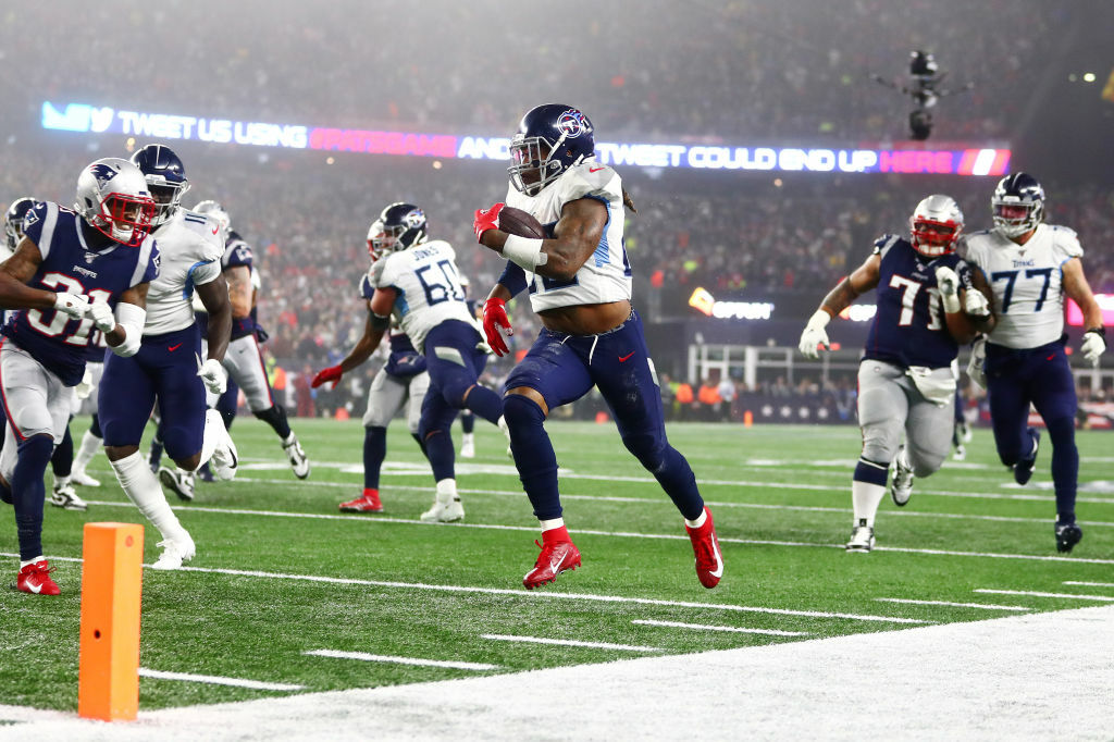 """<p><b><i>Titans 20</i></b><br /> <b><i>Patriots 13</i></b></p> <p>Speaking of change,<a href=""""https://profootballtalk.nbcsports.com/2019/12/31/kyle-van-noy-looking-forward-to-playoff-revenge-tour/"""" target=""""_blank"""" rel=""""noopener"""">New England&#8217;s revenge tour</a> is canceled … and their long dynasty might be too. The Patriots&#8217; earliest playoff exit since 2009 <a href=""""https://twitter.com/nflresearch/status/1213679190827909120?s=21"""" target=""""_blank"""" rel=""""noopener"""">looked a lot like their wild card loss from a decade ago</a>, except this time Tom Brady is a 42-year-old free agent with very few weapons around him on an offense <a href=""""https://profootballtalk.nbcsports.com/2020/01/05/patriots-expect-josh-mcdaniels-to-leave-if-he-gets-an-offer/"""" target=""""_blank"""" rel=""""noopener"""">threatening big changes</a>. I know it&#8217;s unthinkable to see Tom Terrific in another uniform, but I wouldn&#8217;t be surprised to see him try for one more championship run with a team a QB away from contention. Indy, maybe?</p> <p>And who better to end New England's nine-game home postseason win streak than someone who was a part of it? Mike Vrabel beat his former coach and mentor Bill Belichick <a href=""""https://profootballtalk.nbcsports.com/2020/01/05/titans-used-a-bill-belichick-clock-management-tactic-against-him/"""" target=""""_blank"""" rel=""""noopener"""">at his own game</a>, thanks in large part to Derrick Henry celebrating his 26th birthdaywith two touchdowns and a franchise-record 204 scrimmage yards — the most ever against a Belichick defense in a playoff game. Tennessee will need more from Ryan Tannehill if they want to pull off another stunner in Baltimore.</p>"""