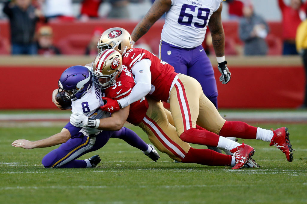 """<p><b><i>Vikings 10</i></b><br /> <b><i>49ers 27</i></b></p> <p>I guess that <a href=""""https://twitter.com/SNFonNBC/status/1216044772680523777?s=20"""" target=""""_blank"""" rel=""""noopener"""">purple sky</a> wasn&#8217;t a harbinger after all. Whether <a href=""""http://www.startribune.com/vikings-tight-end-kyle-rudolph-puts-positive-spin-on-short-week/566821102/"""">Minnesota&#8217;s short week</a>had anything to do with its rough performance in Santa Clara, they couldn&#8217;t <a href=""""https://profootballtalk.nbcsports.com/2020/01/10/kirk-cousins-on-vikings-endless-quest-for-a-super-bowl-win-what-better-time-than-right-now/"""">repeat the 1987 Vikings&#8217; feat</a> and face an offseason rife with questions as to who will run the offense — both at coordinator and quarterback. This may have been the best we&#8217;ll see from this iteration of the Minnesota Vikings.</p> <p>Though Jimmy G recovered well enough from <a href=""""https://profootballtalk.nbcsports.com/2020/01/11/danielle-hunter-called-jimmy-garoppolo-scared-after-last-49ers-vikings-game/"""">his first meeting with the Vikes</a>to maintain his career-long streak of never losing to same team twice, this game was won by the Niners&#8217; domination of the trenches, <a href=""""https://twitter.com/ESPNStatsInfo/status/1216157435854876672?s=20"""" target=""""_blank"""" rel=""""noopener"""">especially on defense</a>. With San Fran set to face Green Bay&#8217;s 23rd-ranked rush defense after pounding Minnesota for 186 rushing yards — and the 49ers&#8217; biggest championship obstacle (the Ravens) not around to challenge them — the Super Bowl is right there for the taking.</p>"""