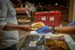 José Andrés' World Central Kitchen has served up tens of thousands of meals since arriving in Puerto Rico on Tuesday, Jan. 7, 2020. Large paella pans, such as the one in this photo, can produce 800 meals per pan. These pans can be whip up 50,00 meals in a day. (Courtesy Samantha Higgins/World Central Kitchen)
