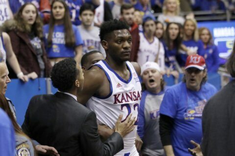 No. 3 Kansas' victory over Kansas State ends in wild brawl