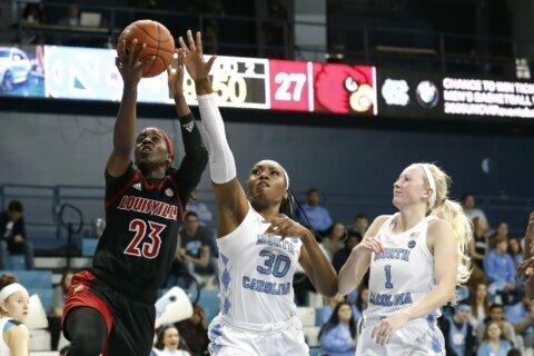 Evans, Jones help No. 5 Louisville women win at UNC 74-67