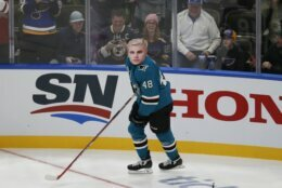 San Jose Sharks' Tomas Hertl wears a Justin Bieber mask during the Skills Competition, part of the NHL All-Star weekend, Friday, Jan. 24, 2020, in St. Louis. (AP Photo/Jeff Roberson)