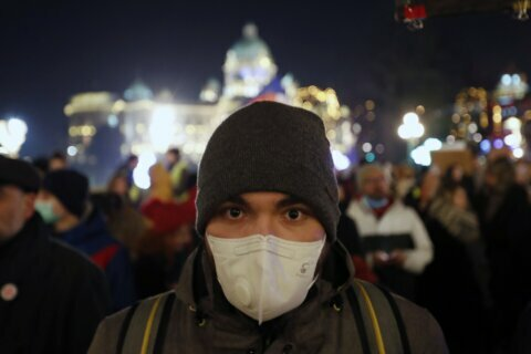 Protesters in face masks march against Belgrade's smog