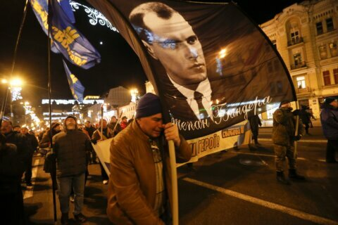 Torchlight parade in Kyiv honors Nazi-linked nationalist