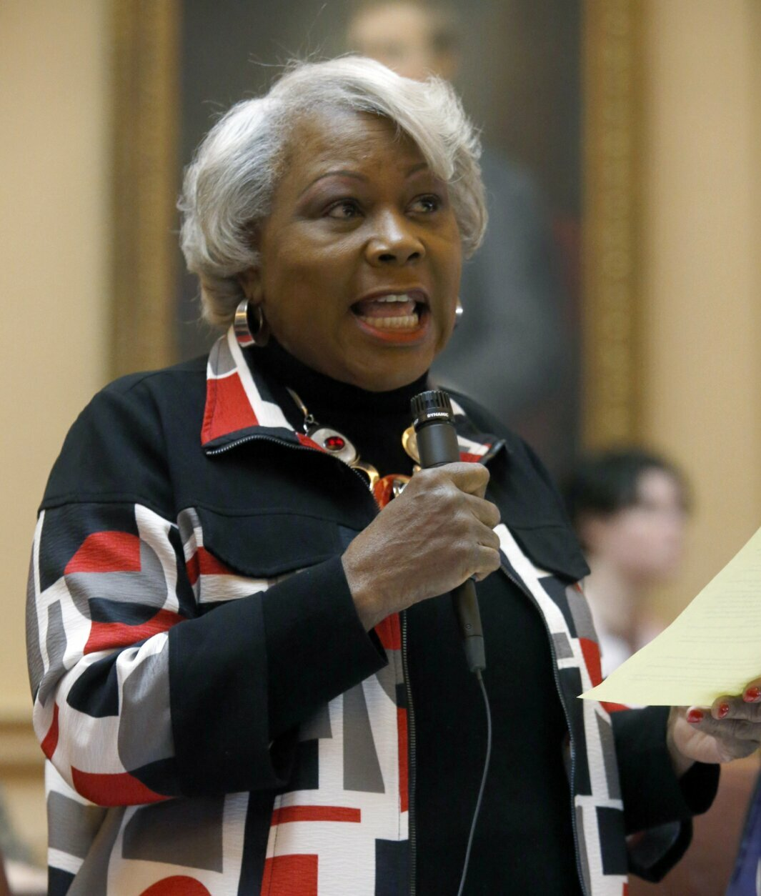 State Sen. Louise Lucas, D-Portsmouth, speaks for her Universal Background Check bill, one of a number of gun-related bills that were debated in the Senate, Thursday, Jan. 16, 2020, at the Capitol in Richmond, Va. (Bob Brown/Richmond Times-Dispatch via AP)