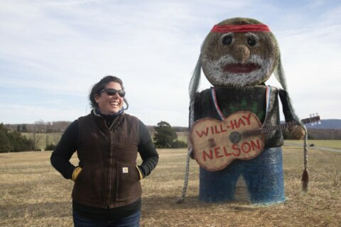'On the Farm Again' Woman makes hay replica of Willie Nelson
