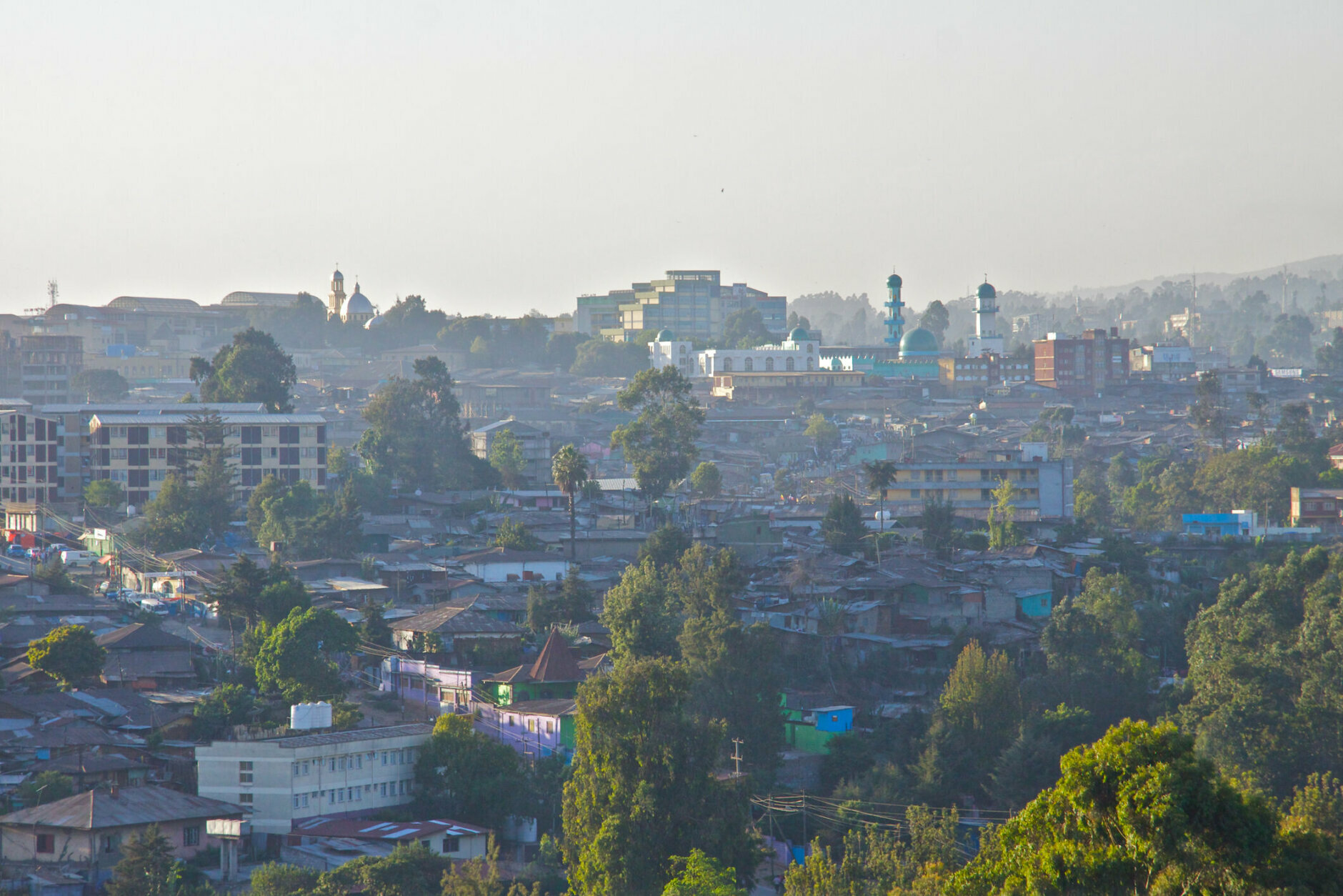 Cityscape of Addis Ababa with Anwar Mosque