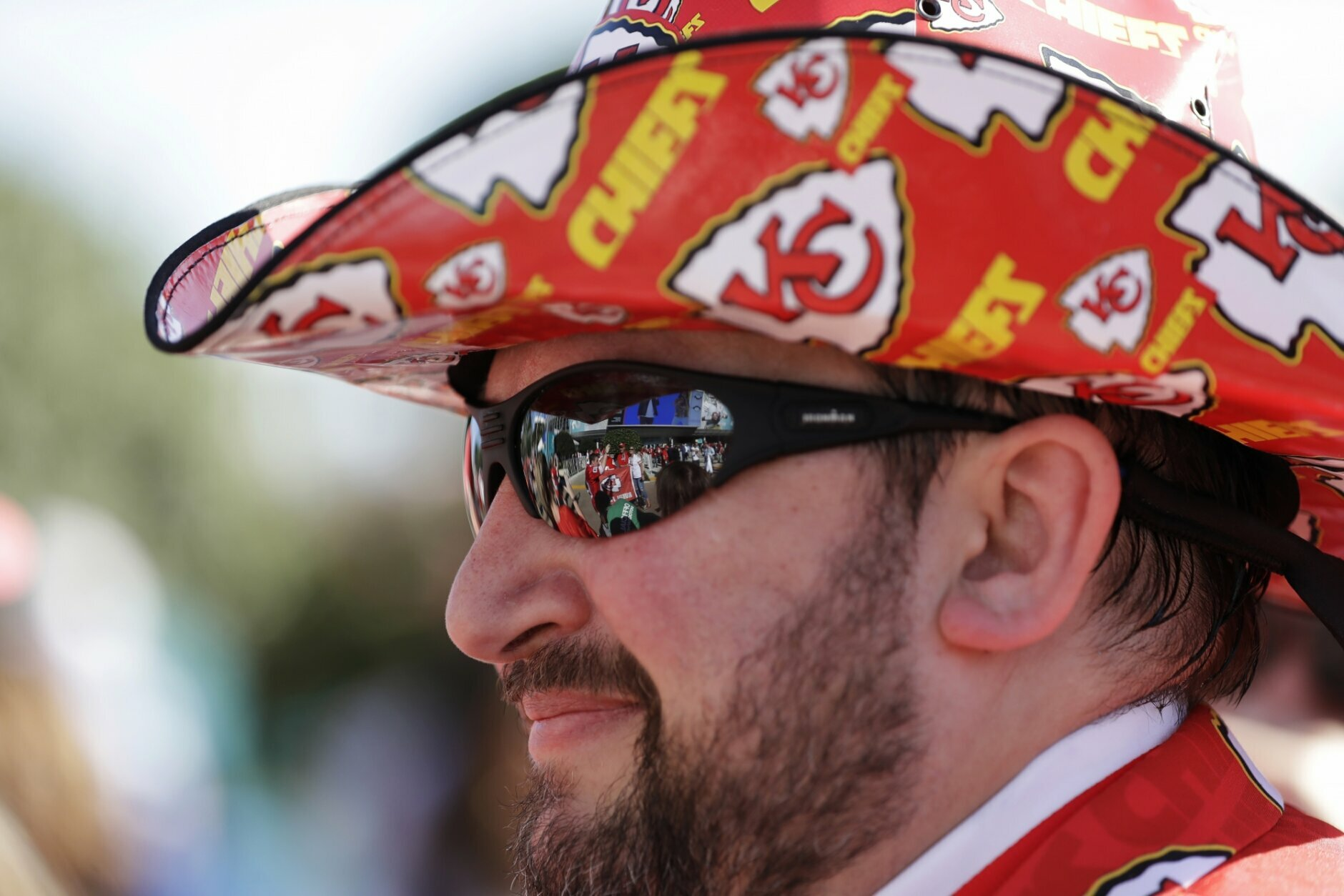 Kansas City Chiefs fan Cameron Sowder arrives before the NFL Super Bowl 54 football game between the San Francisco 49ers and Kansas City Chiefs Sunday, Feb. 2, 2020, in Miami Gardens, Fla. (AP Photo/Mark Humphrey)