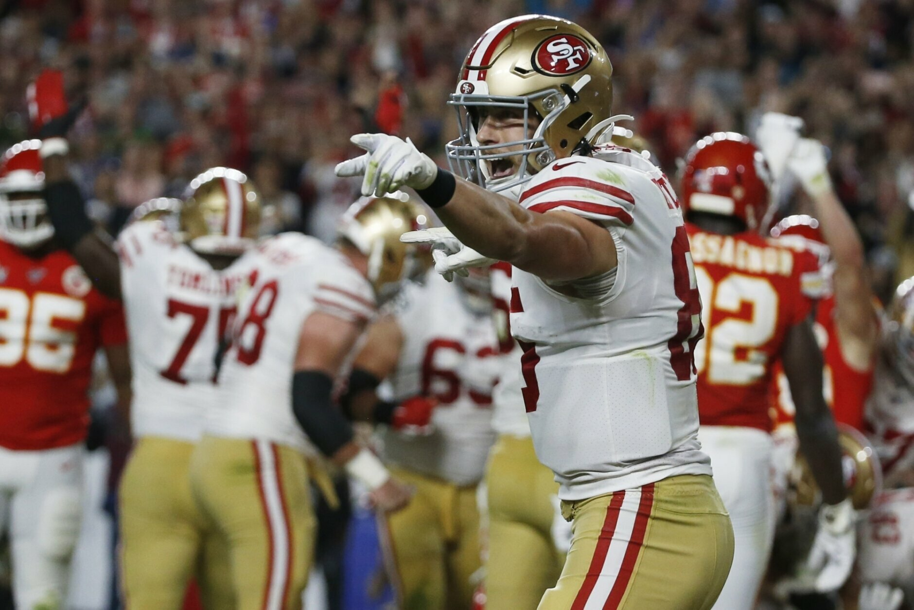 San Francisco 49ers' George Kittle celebrates after Raheem Mostert scored against the Kansas City Chiefs during the second half of the NFL Super Bowl 54 football game Sunday, Feb. 2, 2020, in Miami Gardens, Fla. (AP Photo/Mark Humphrey)