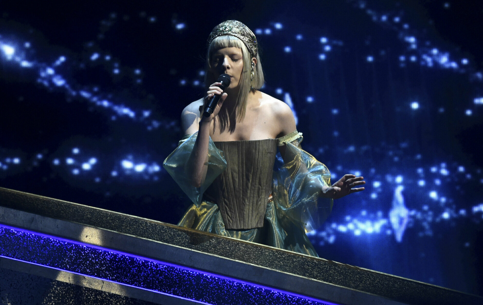 Aurora performs at the Oscars on Sunday, Feb. 9, 2020, at the Dolby Theatre in Los Angeles. (AP Photo/Chris Pizzello)