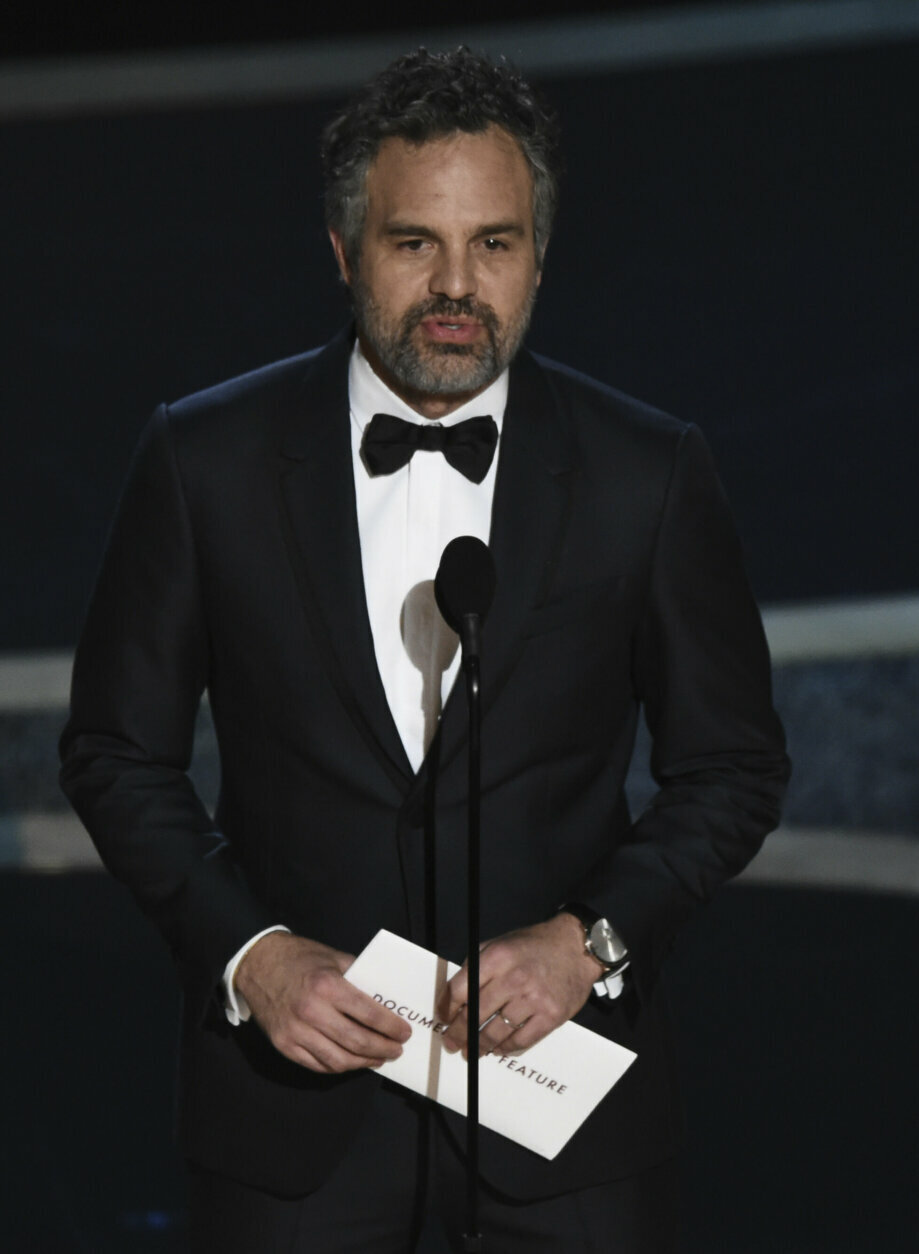 Mark Ruffalo presents the award for best documentary feature at the Oscars on Sunday, Feb. 9, 2020, at the Dolby Theatre in Los Angeles. (AP Photo/Chris Pizzello)