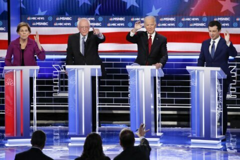 AP FACT CHECK: Dems' sticky health debate; Trump's rally